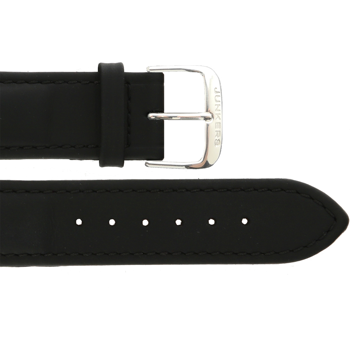 Leather wristband black 20 mm silver thorn buckle