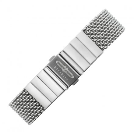 Metal Wristband Heavy Milanaise Silver 22 mm Silver Deployant Zeppelin Embossing on the Buckle