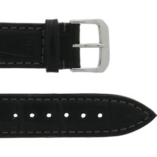Leather Wristband Black 20 mm Silver Thorn Buckle Dark...
