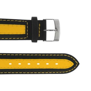 Plastic Wristband with Leather Patch Black-yellow 20...