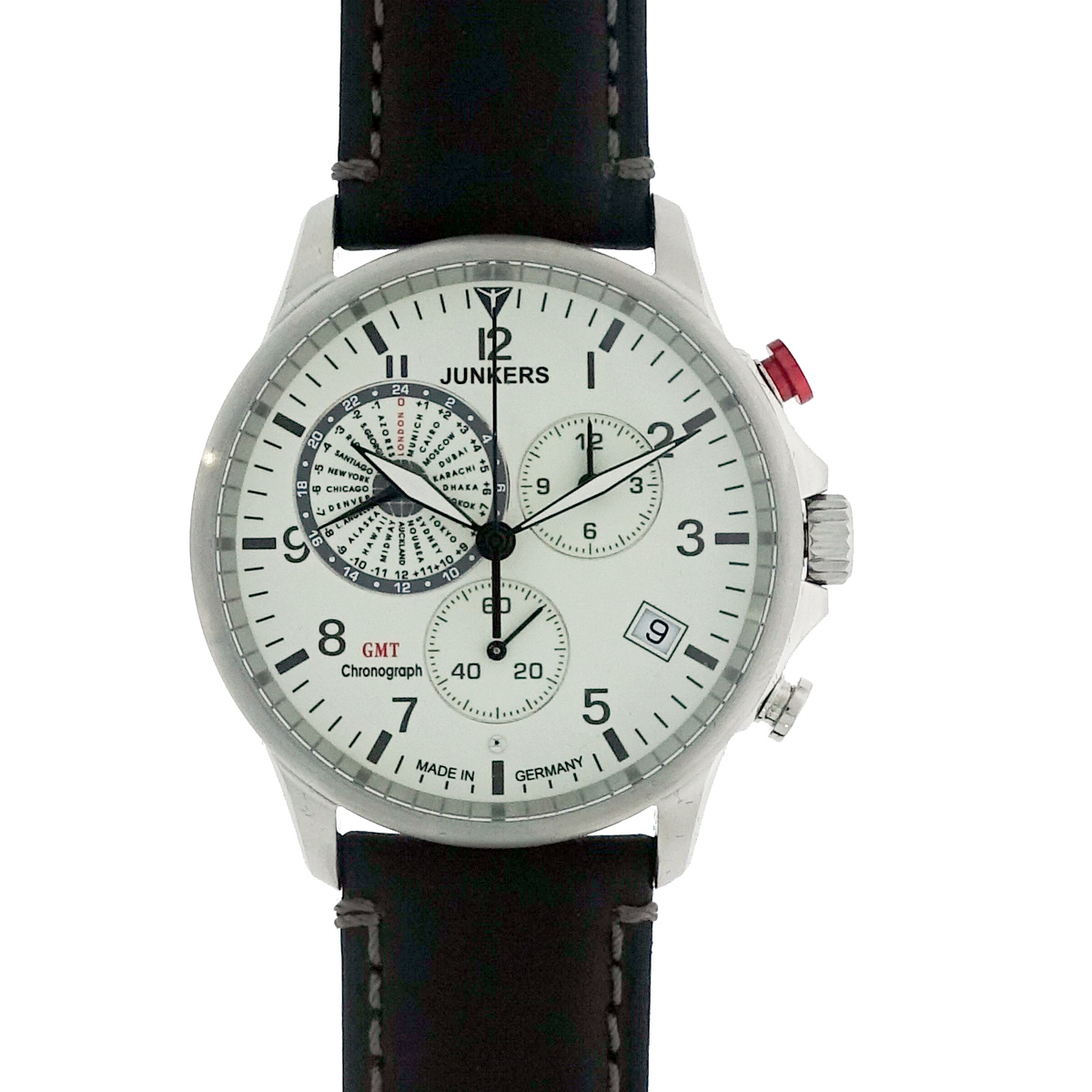Junkers 6892-5 Series Worldtimer Set with extra leather strap