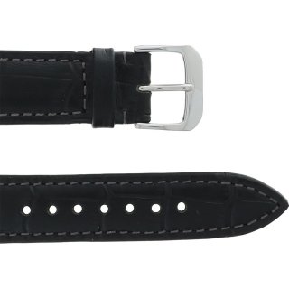 Leather Wristband Black 18 mm Silver Thorn Buckle Grey...