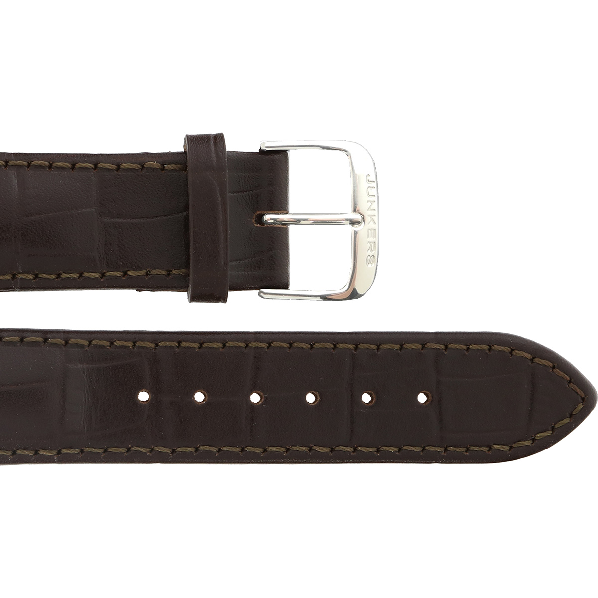 Leather wristband croco darkbrown 22 mm silver thorn buckle