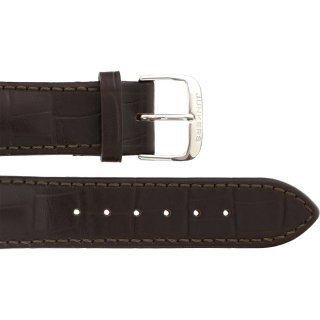 Leather wristband croco darkbrown 22 mm silver thorn...