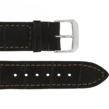 Leather Wristband Brown 20 mm Silver Thorn Buckle Brown Seam croco