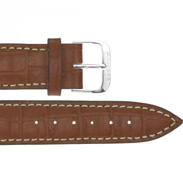 Leather wristband croco lightbrown 20 mm silver thorn buckle