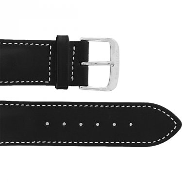 Leather wristband black 22 mm thorn buckle