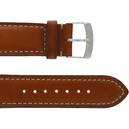 Leather Wristband Light-Brown 20 mm Silver Thorn Buckle Beige Seam Plain