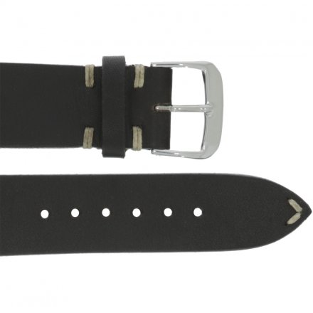 Leather wristband vintage black 22 mm silver thorn buckle