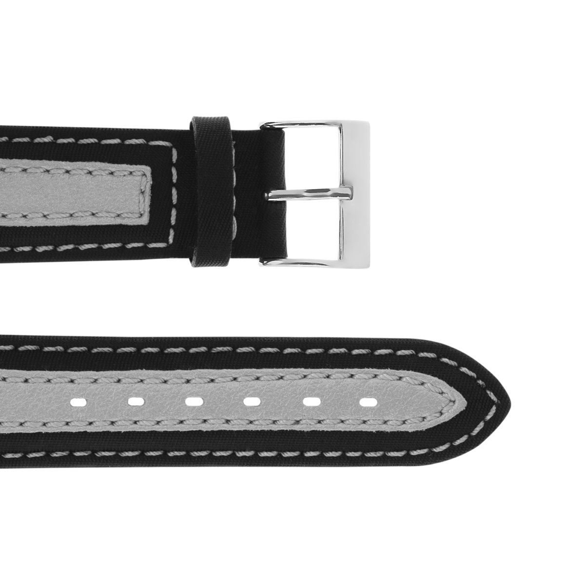 Plastic Wristband with Leather Patch Black-silver 20 mm Silver Thorn Buckle Silver Seam Textured