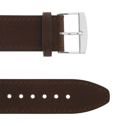 Leather Wristband Brown 24 mm Silver Thorn Buckle Brown Seam Plain