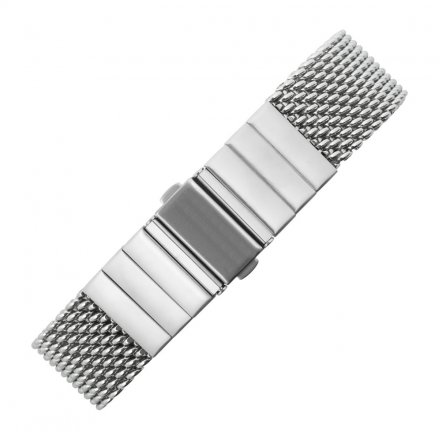 Metal Wristband Heavy Milanaise Silver 20 mm straight bridge